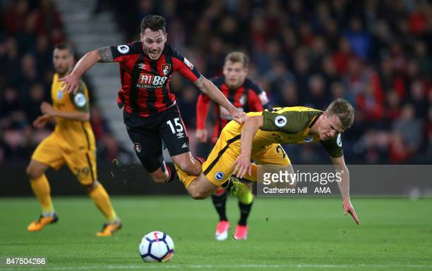 Adam Smith of AFC Bournemouth and Solly March of Brighton and Hove Albion during the Premier League match between AFC Bournemouth and Brighton and...