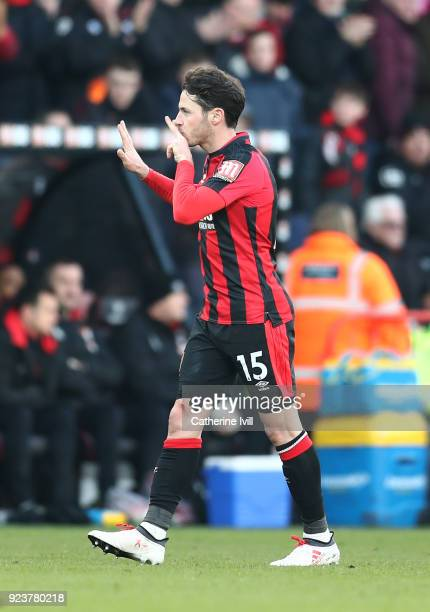 Adam Smith of AFC Bournemouth celebrates after scoring his sides first goal during the Premier League match between AFC Bournemouth and Newcastle...