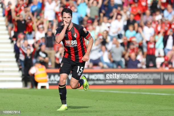 Adam Smith of AFC Bournemouth celebrates after scoring his team's fourth goal during the Premier League match between AFC Bournemouth and Leicester...