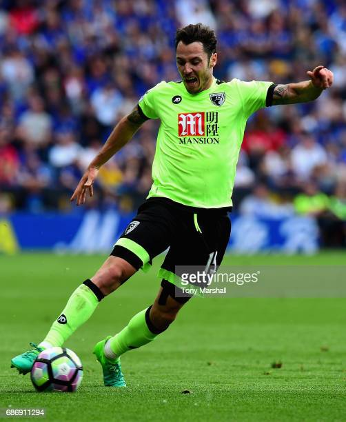 Adam Smith of AFC Bournemouth during the Premier League match between Leicester City and AFC Bournemouth at The King Power Stadium on May 21 2017 in...