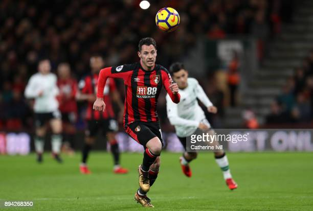 Adam Smith of AFC Bournemouth during the Premier League match between AFC Bournemouth and Liverpool at Vitality Stadium on December 17 2017 in...