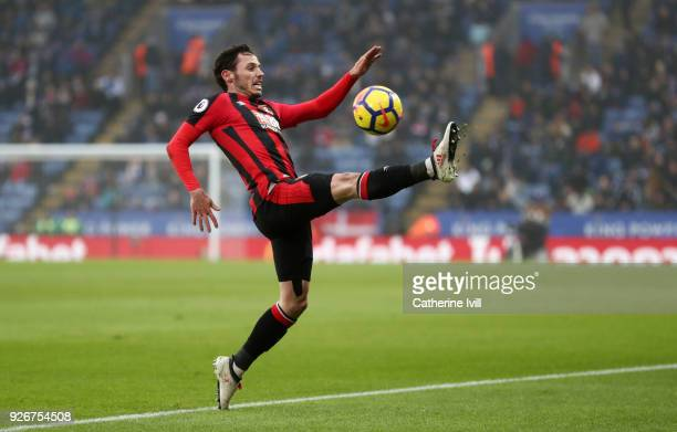 Adam Smith of AFC Bournemouth during the Premier League match between Leicester City and AFC Bournemouth at The King Power Stadium on March 3 2018 in...