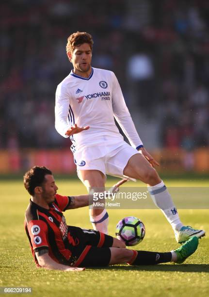 Adam Smith of AFC Bournemouth fouls Marcos Alonso of Chelsea during the Premier League match between AFC Bournemouth and Chelsea at Vitality Stadium...