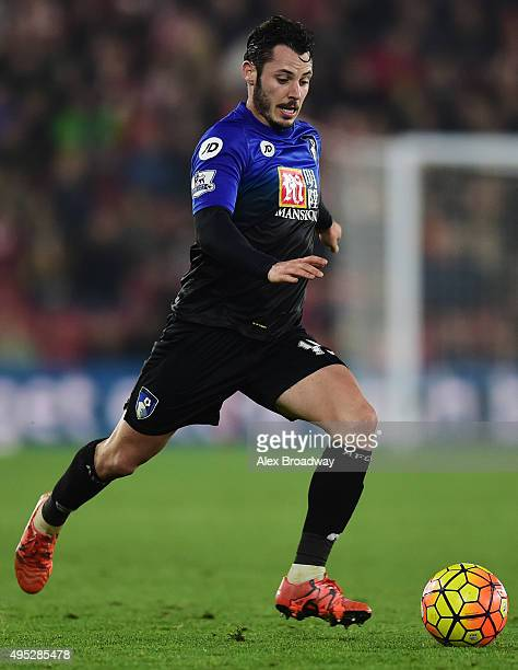 Adam Smith of AFC Bournemouth in action during the Barclays Premier League match between Southampton and AFC Bournemouth at St Mary's Stadium on...