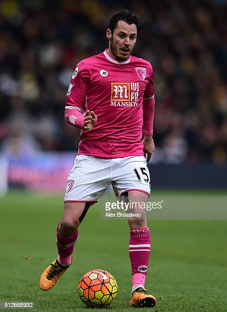Adam Smith of AFC Bournemouth in action during the Barclays Premier League match between Watford and AFC Bournemouth at Vicarage Road on February 27...