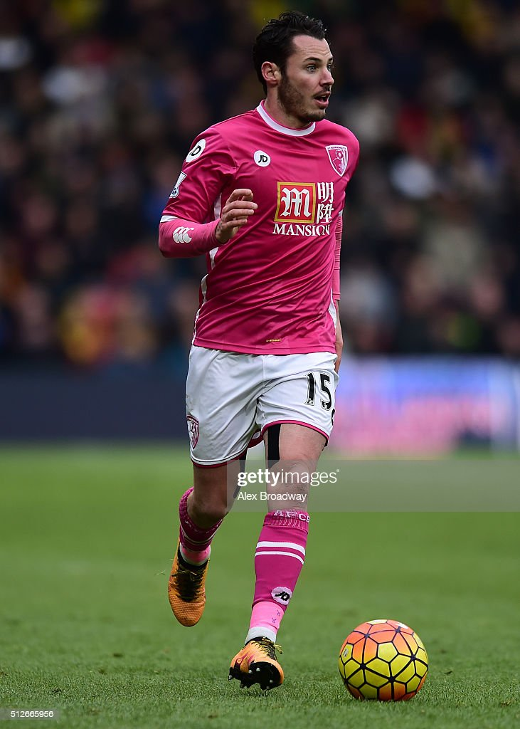 Adam Smith of A.F.C Bournemouth in action during the Barclays Premier League match between Watford and A.F.C Bournemouth at Vicarage Road on February 27, 2016 in Watford, England.