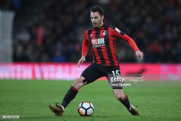 Adam Smith of AFC Bournemouth in action during the Emirates FA Cup Third Round match between AFC Bournemouth and Wigan Athletic at Vitality Stadium...