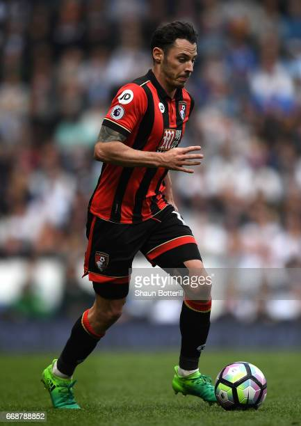 Adam Smith of AFC Bournemouth in action during the Premier League match between Tottenham Hotspur and AFC Bournemouth at White Hart Lane on April 15...