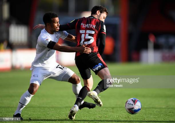 Adam Smith of AFC Bournemouth is challenged by Nathan Byrne of Derby County during the Sky Bet Championship match between AFC Bournemouth and Derby...