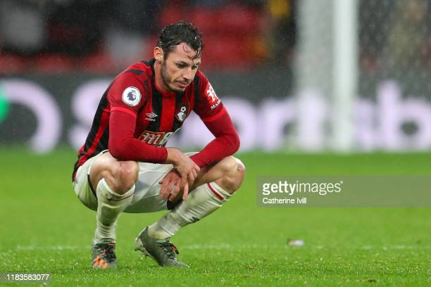 Adam Smith of AFC Bournemouth reacts after his sides draw in the Premier League match between Watford FC and AFC Bournemouth at Vicarage Road on...