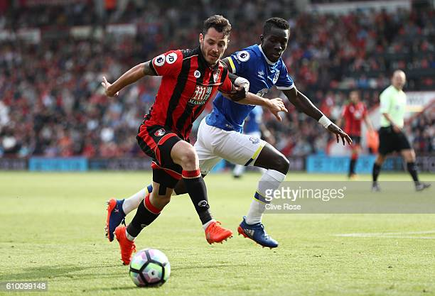 Adam Smith of AFC Bournemouth takes it past Idrissa Gueye of Everton during the Premier League match between AFC Bournemouth and Everton at the...