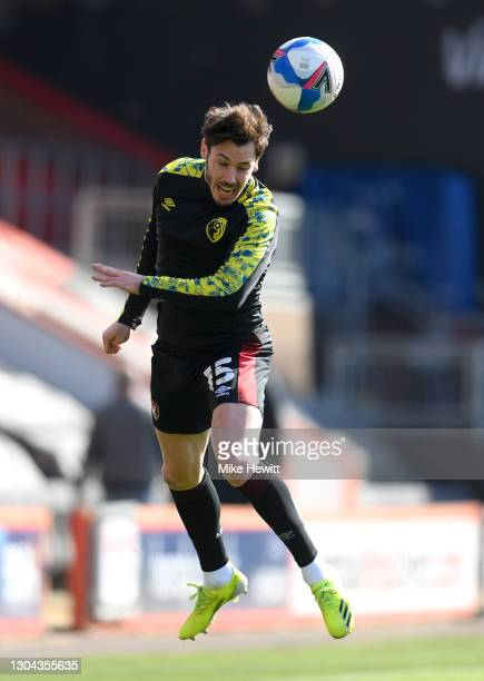 Adam Smith of AFC Bournemouth warms up prior to the Sky Bet Championship match between AFC Bournemouth and Watford at Vitality Stadium on February...