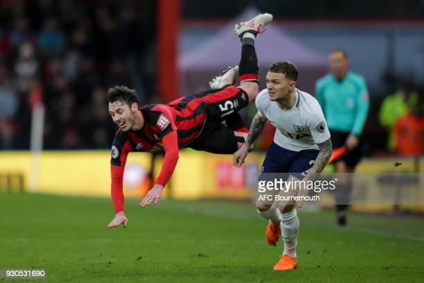 Adam Smith of Bournemouth and Kieran Trippier of Tottenham Hotspur during the Premier League match between AFC Bournemouth and Tottenham Hotspur at...