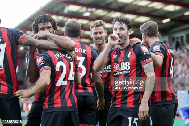 Adam Smith of Bournemouth celebrates after he scores to make it 40 during the Premier League match between AFC Bournemouth and Leicester City at...