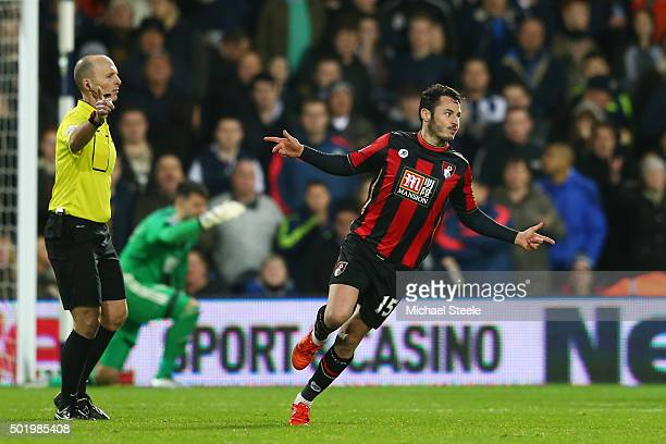 Adam Smith of Bournemouth celebrates scoring his team's first goal during the Barclays Premier League match between West Bromwich Albion and A.F.C....