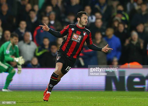 Adam Smith of Bournemouth celebrates scoring his team's first goal during the Barclays Premier League match between West Bromwich Albion and AFC...