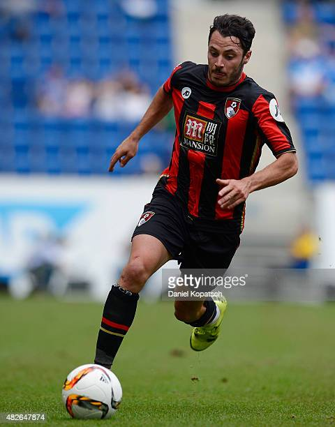 Adam Smith of Bournemouth controls the ball during the friendly match between 1899 Hoffenheim and AFC Bournemouth at Wirsol RheinNeckarArena on...