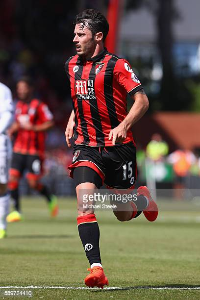 Adam Smith of Bournemouth during the Premier League match between AFC Bournemouth and Manchester United at the Vitality Stadium on August 14 2016 in...
