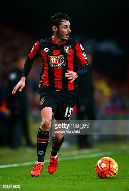 Adam Smith of Bournemouth in action during the Barclays Premier League match between AFC Bournemouth and Crystal Palace at the Vitality Stadium on...