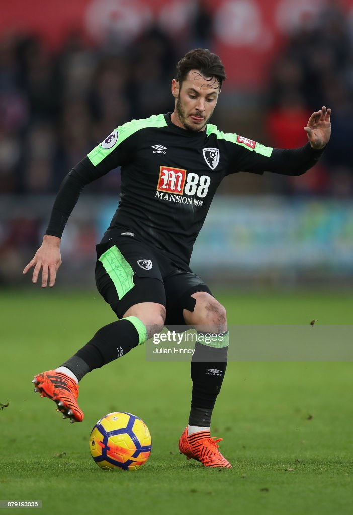 Adam Smith of Bournemouth in action during the Premier League match between Swansea City and AFC Bournemouth at Liberty Stadium on November 25, 2017 in Swansea, Wales.