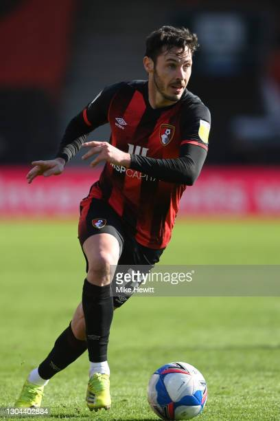 Adam Smith of Bournemouth in action during the Sky Bet Championship match between AFC Bournemouth and Watford at Vitality Stadium on February 27,...