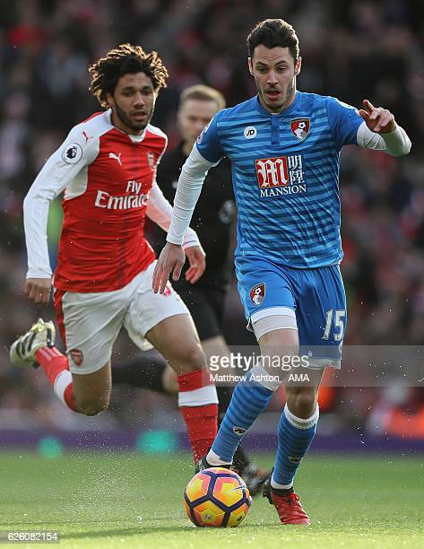Adam Smith of Bournemouth surges forward during the Premier League match between Arsenal and AFC Bournemouth at Emirates Stadium on November 27 2016...