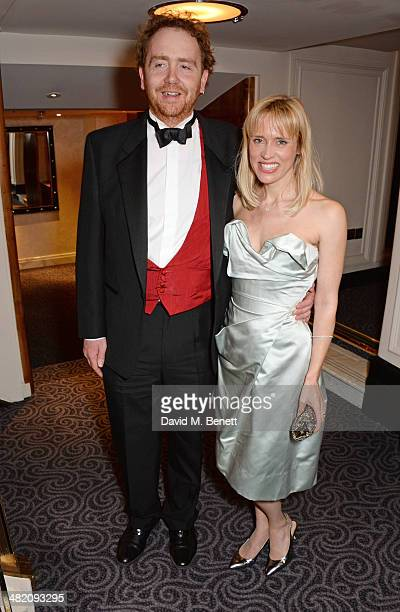 Adam Speers and Beth Cordingly attend an after party following the press night performance of Dirty Rotten Scoundrels at The Savoy Hotel on April 2...