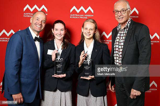 Adam Spencer and Dr Karl Kruszelnicki present Claire Galvin and Anna Hardy with 2016 Sleek Geeks Science Eureka Prize for Secondary Schools at the...