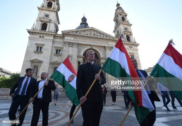 Adam Steinmetz Olympic champion Hungarian water polo player and new delegate of the nationalist Jobbik party at the Hungarian Parliament holds a...