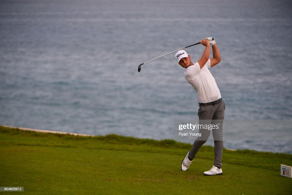 Adam Svensson plays his shot from the 15th tee during the first round of the Web.com Tour's The Bahamas Great Exuma Classic at Sandals Emerald Bay - Emerald Reef Course on January 13, 2018 in Great Exuma, Bahamas.
