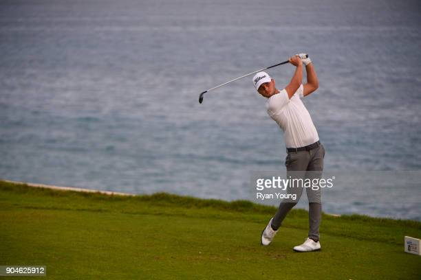 Adam Svensson plays his shot from the 15th tee during the first round of the Webcom Tour's The Bahamas Great Exuma Classic at Sandals Emerald Bay...