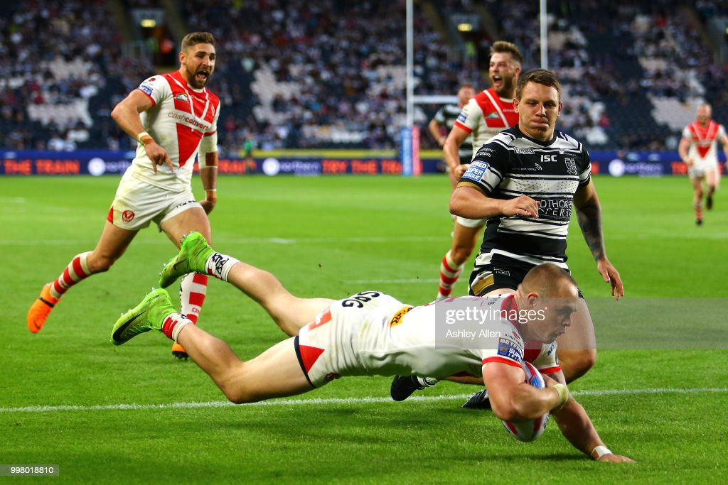 Adam Swift of St Helens scores a try during the BetFred Super League match between Hull FC and St Helens Saints at the KCOM Stadium on July 13, 2018 in Hull, England.
