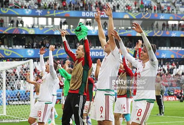 Adam Szalai and Hungary players celebrate after their team's 20 win in the UEFA EURO 2016 Group F match between Austria and Hungary at Stade Matmut...