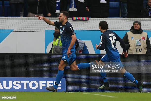 Adam Szalai celebrates his goal with Nico Schulz oh Hoffenheim during the Bundesliga match between TSG 1899 Hoffenheim and 1 FSV Mainz 05 at Wirsol...