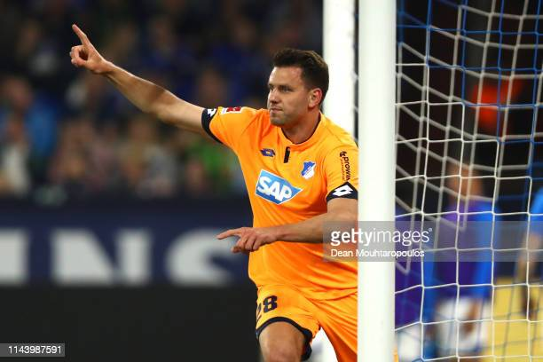 Adam Szalai of 1899 Hoffenheim celebrates after scoring his sides third goal during the Bundesliga match between FC Schalke 04 and TSG 1899...
