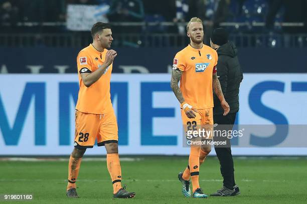 Adam Szalai of Hoffenheim and Kevin Vogt of Hoffenheim look dejected after the Bundesliga match between FC Schalke 04 and TSG 1899 Hoffenheim at...