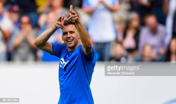 Adam Szalai of Hoffenheim celebrates his goal during the Bundesliga match between TSG 1899 Hoffenheim and Borussia Dortmund at Wirsol...