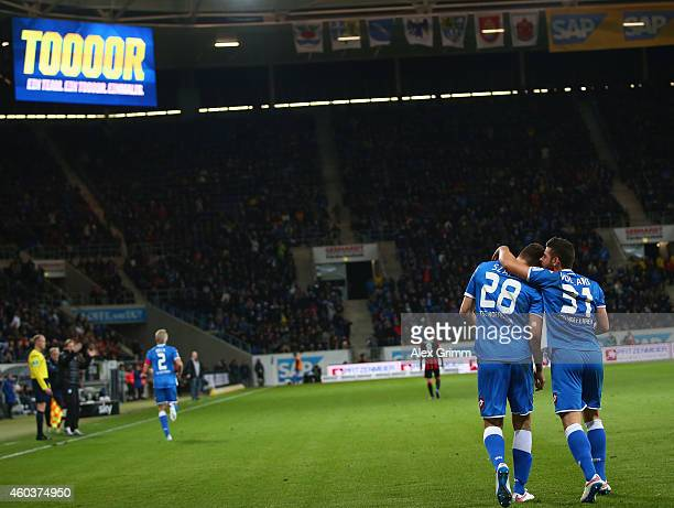 Adam Szalai of Hoffenheim celebrates scoring his team's second goal with Kevin Volland during the Bundesliga match between 1899 Hoffenheim and...
