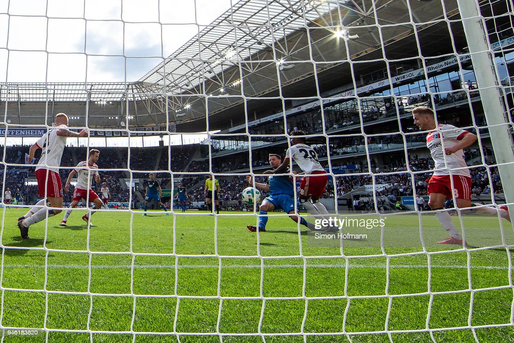 Adam Szalai of Hoffenheim (c) scores a goal to make it 2:0 during the Bundesliga match between TSG 1899 Hoffenheim and Hamburger SV at Wirsol Rhein-Neckar-Arena on April 14, 2018 in Sinsheim, Germany.
