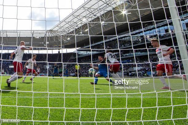 Adam Szalai of Hoffenheim scores a goal to make it 20 during the Bundesliga match between TSG 1899 Hoffenheim and Hamburger SV at Wirsol...