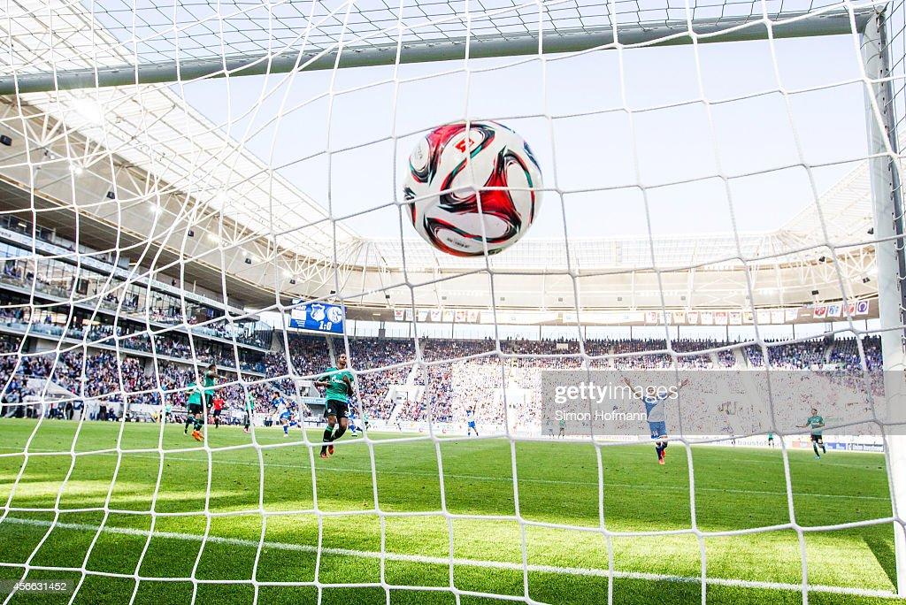 Adam Szalai of Hoffenheim (not pictured) scores his team's second goal during the Bundesliga match between 1899 Hoffenheim and FC Schalke 04 at Wirsol Rhein-Neckar-Arena on October 4, 2014 in Sinsheim, Germany.