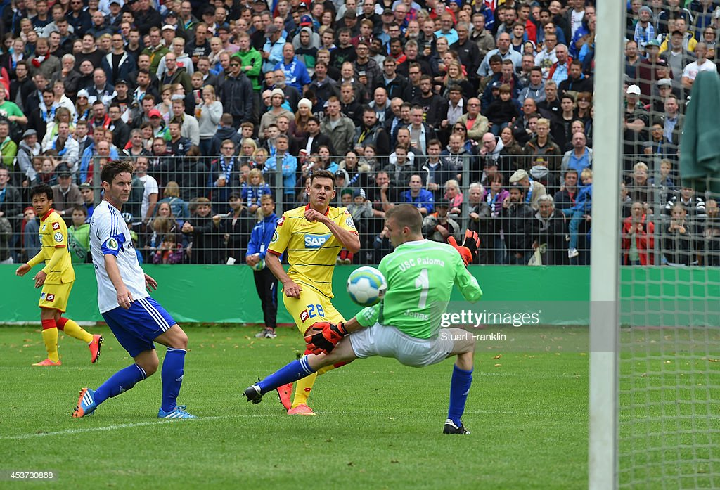 Adam Szalai of Hoffenheim scores the sixth goal during the DFB Pokal first round match between USC Paloma and 1899 Hoffenheim on August 17, 2014 in Hamburg, Germany.