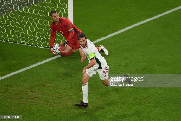 Adam Szalai of Hungary celebrates after scoring their side's first goal during the UEFA Euro 2020 Championship Group F match between Germany and...