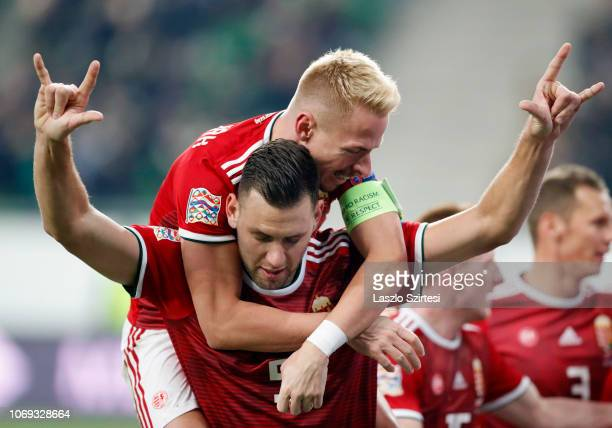 Adam Szalai of Hungary celebrates his goal with Balazs Dzsudzsak of Hungary during the UEFA Nations League group stage match between Hungary and...