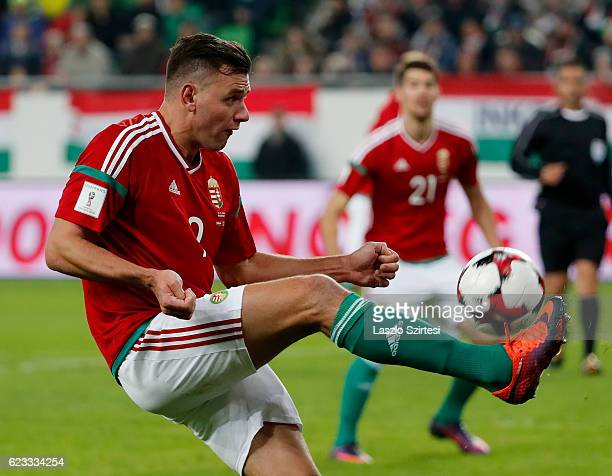 Adam Szalai of Hungary controls the ball during the FIFA 2018 World Cup Qualifier match between Hungary and Andorra at Groupama Arena on November 13...