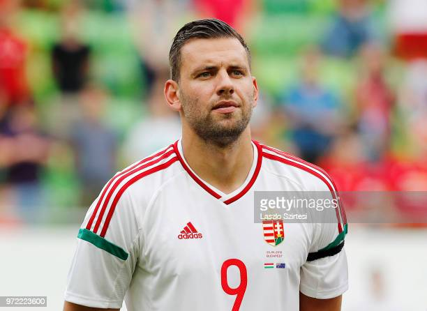 Adam Szalai of Hungary listens to the anthem prior to the International Friendly match between Hungary and Australia at Groupama Arena on June 9 2018...