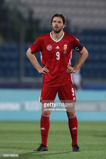 Adam Szalai of Hungary looks on during the FIFA World Cup 2022 Qatar qualifying match between San Marino and Hungary at San Marino Stadium on March...