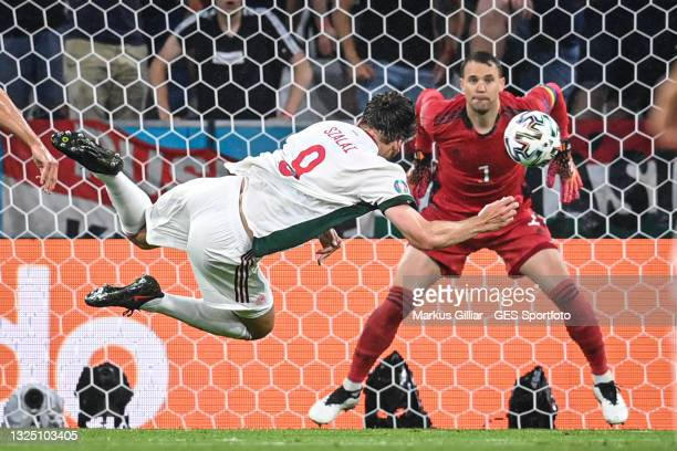 Adam Szalai of Hungary scores his team's first goal against Goalkeeper Manuel Neuer of Germany during the UEFA Euro 2020 Championship Group F match...