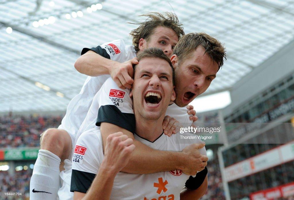 Adam Szalai of Mainz celebrates after scoring his teams first goal during the Bundesliga match between Bayer 04 Leverkusen and FSV Mainz 05 at BayArena on October 20, 2012 in Leverkusen, Germany.
