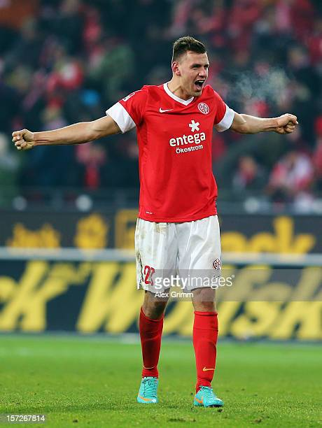 Adam Szalai of Mainz celebrates after the Bundesliga match between 1. FSV Mainz 05 and Hannover 96 at Coface Arena on December 1, 2012 in Mainz,...
